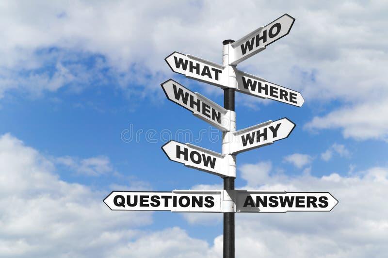 Signpost di domande e risposte immagini stock