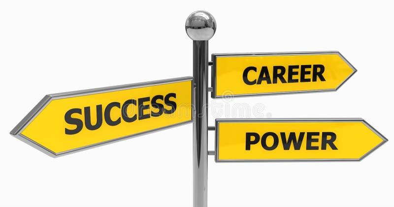 Signpost di successo, di potenza e della carriera illustrazione vettoriale