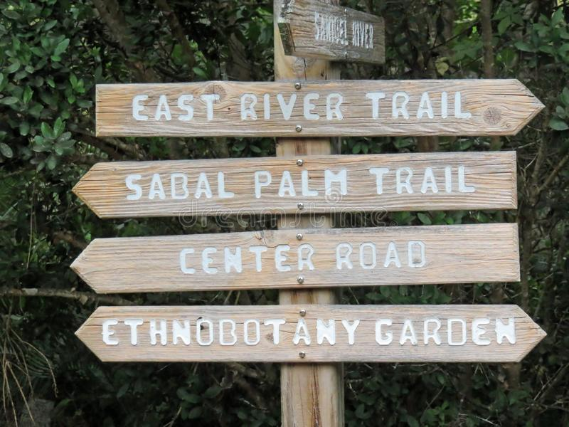 Signpost with Directions to Trails royalty free stock photos