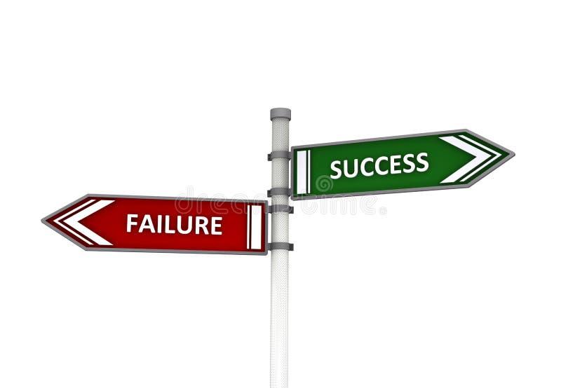 Signpost do sucesso ou da falha ilustração royalty free