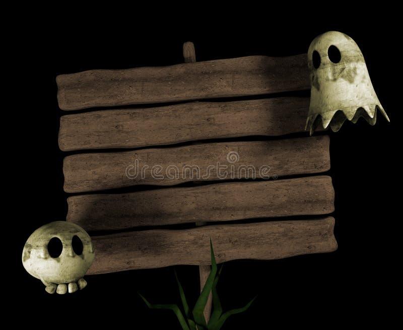 Signpost dos desenhos animados de Halloween ilustração royalty free