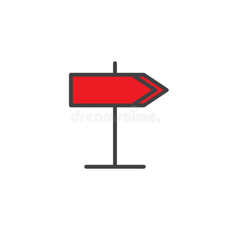 Signpost filled outline icon. Line vector sign, linear colorful pictogram on white. Road sign symbol, logo illustration. Pixel perfect vector graphics stock illustration