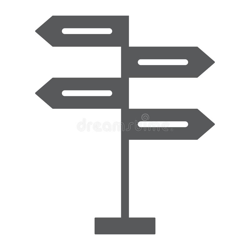 Signpost glyph icon, decision making. And guidepost, arrow sign, vector graphics, a solid pattern on a white background, eps 10 royalty free illustration