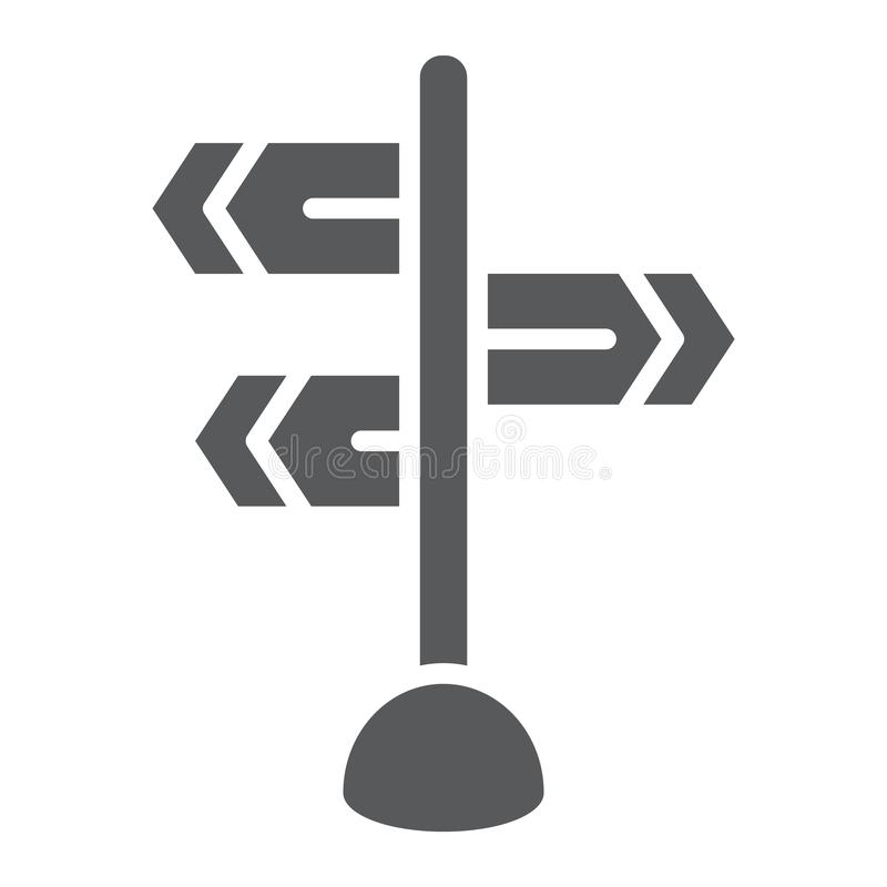 Signpost glyph icon, direction and sign, guidepost sign, vector graphics, a solid pattern on a white background. Signpost glyph icon, direction and sign vector illustration