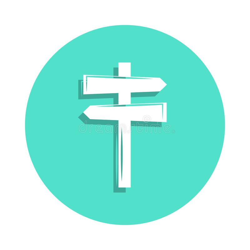 Signpost icon in badge style. One of travel collection icon can be used for UI, UX. On white background royalty free illustration