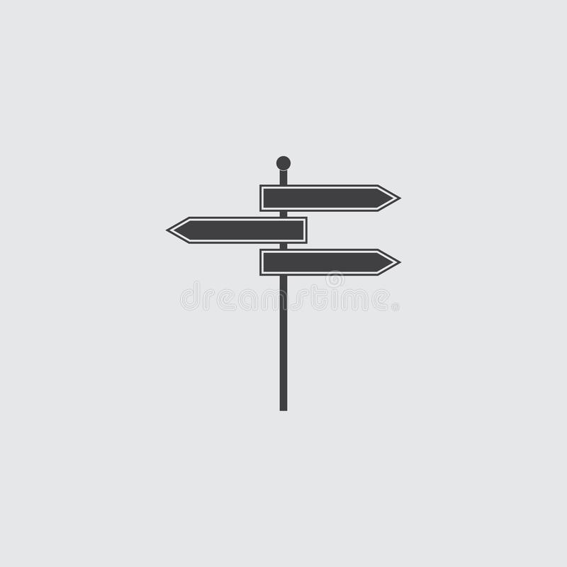 Signpost icon in a flat design in a black color.  stock illustration