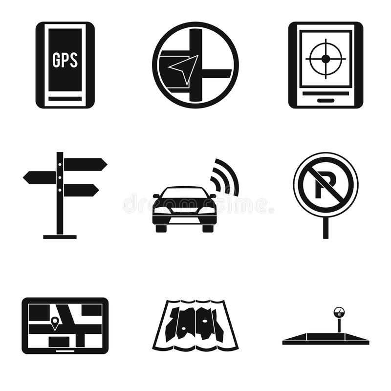 Signpost icons set, simple style stock illustration