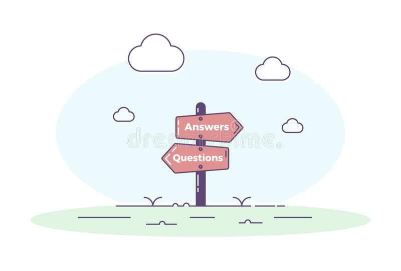 Signpost illustrating questions and answers concept. Vector illustration design for QA assistance. FAQ, frequently asked questions background with road post stock illustration
