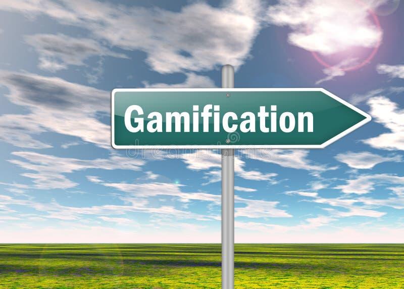 Signpost Gamification. Signpost Illustration with Gamification wording stock illustration