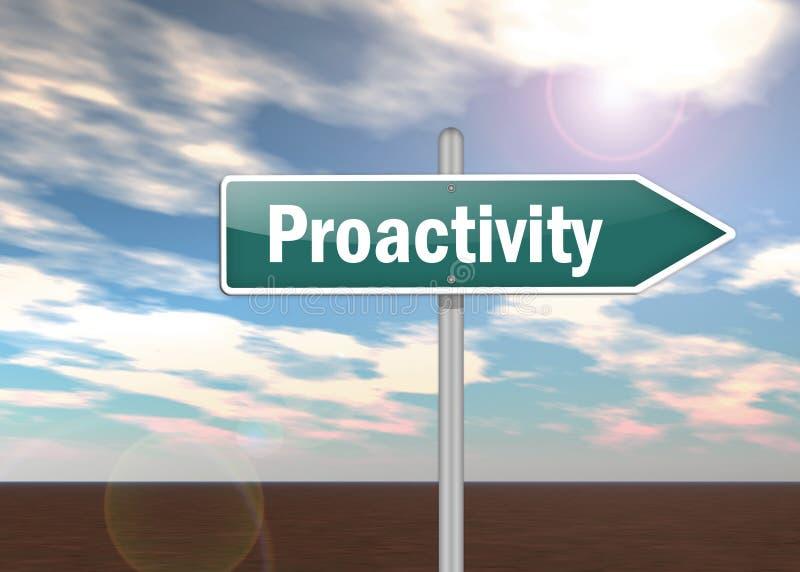 Signpost Proactivity. Signpost Illustration with Proactivity wording stock illustration