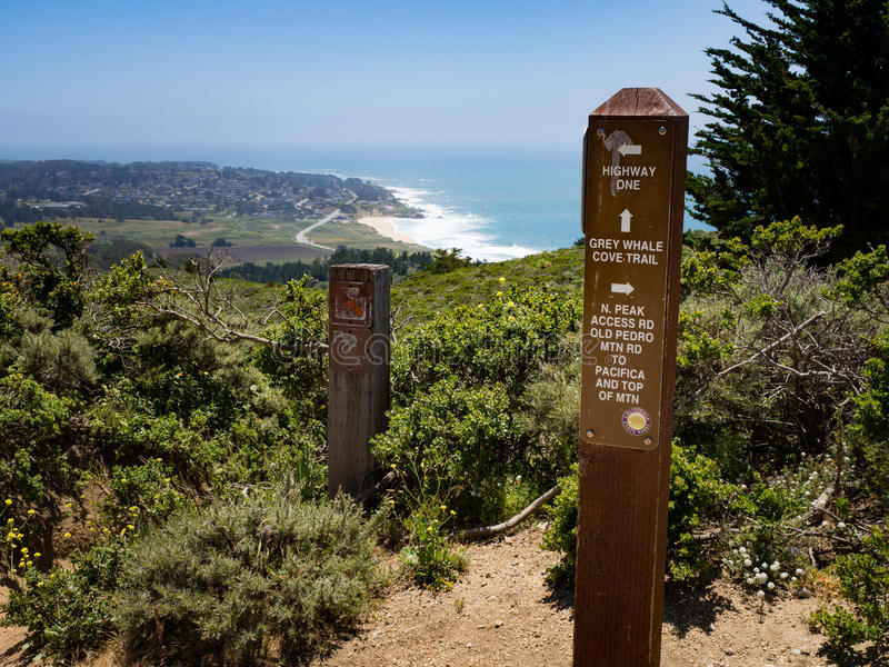 Signpost at junction of grey whale cove trail and old pedro mountain trail stock photography