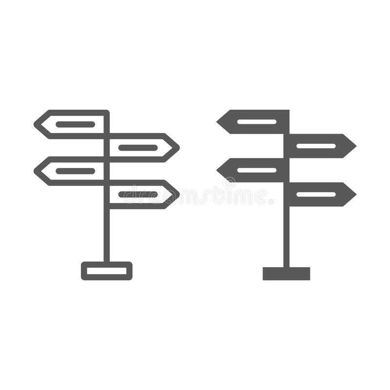 Signpost line and glyph icon, decision. Making and guidepost, arrow sign, vector graphics, a linear pattern on a white background, eps 10 royalty free illustration