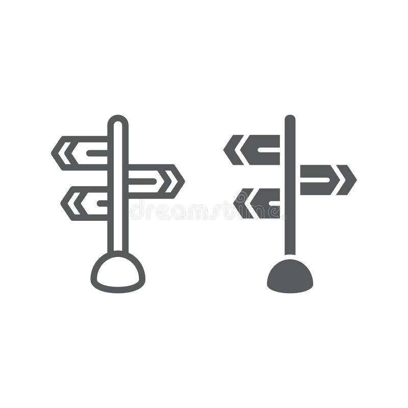 Signpost line and glyph icon, direction and sign, guidepost sign, vector graphics, a linear pattern on a white. Background, eps 10 stock illustration