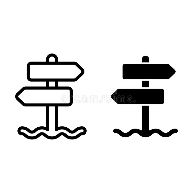 Signpost line and glyph icon. Road pointer vector illustration isolated on white. Arrow outline style design, designed. For web and app. Eps 10 royalty free illustration