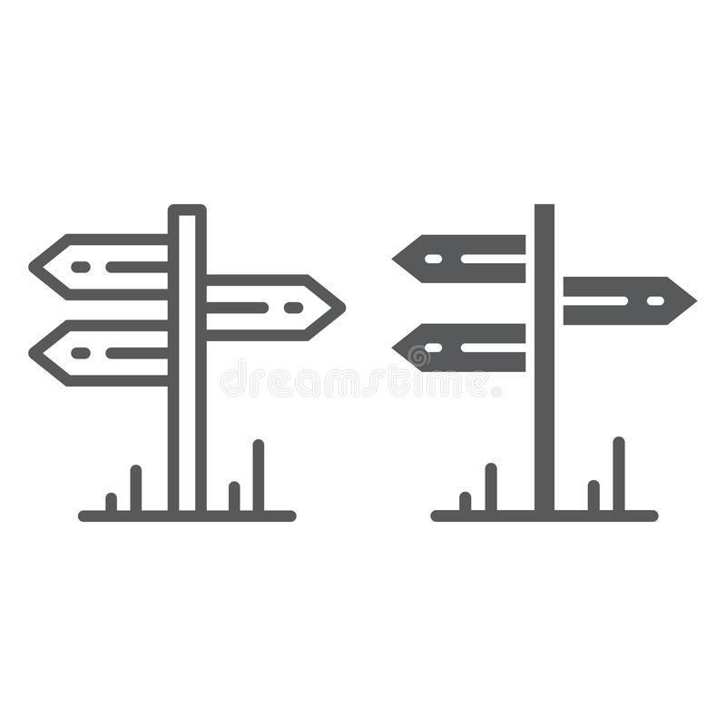 Signpost line and glyph icon, travel and tourism, guidepost sign vector graphics, a linear pattern on a white background. Eps 10 vector illustration