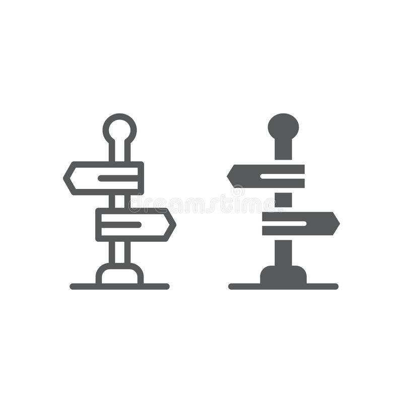 Signpost line and glyph icon, way and direction, guidepost sign, vector graphics, a linear pattern on a white background. Eps 10 royalty free illustration