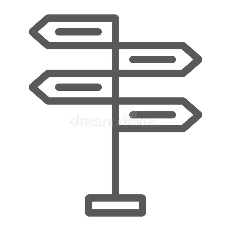 Signpost line icon, decision making. And guidepost, arrow sign, vector graphics, a linear pattern on a white background, eps 10 royalty free illustration
