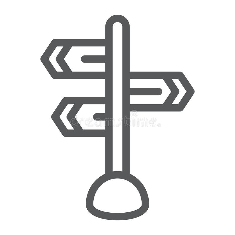 Signpost line icon, direction and sign, guidepost sign, vector graphics, a linear pattern on a white background. Signpost line icon, direction and sign stock illustration