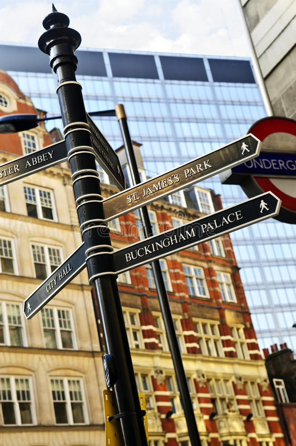 Download Signpost in London editorial stock photo. Image of great - 13254208