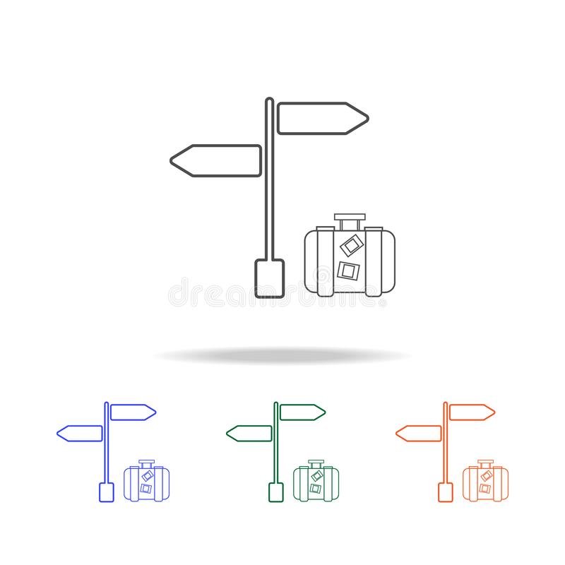 Signpost with luggage line icon. Elements of journey in multi colored icons. Premium quality graphic design icon. Simple icon for. Websites, web design, mobile vector illustration