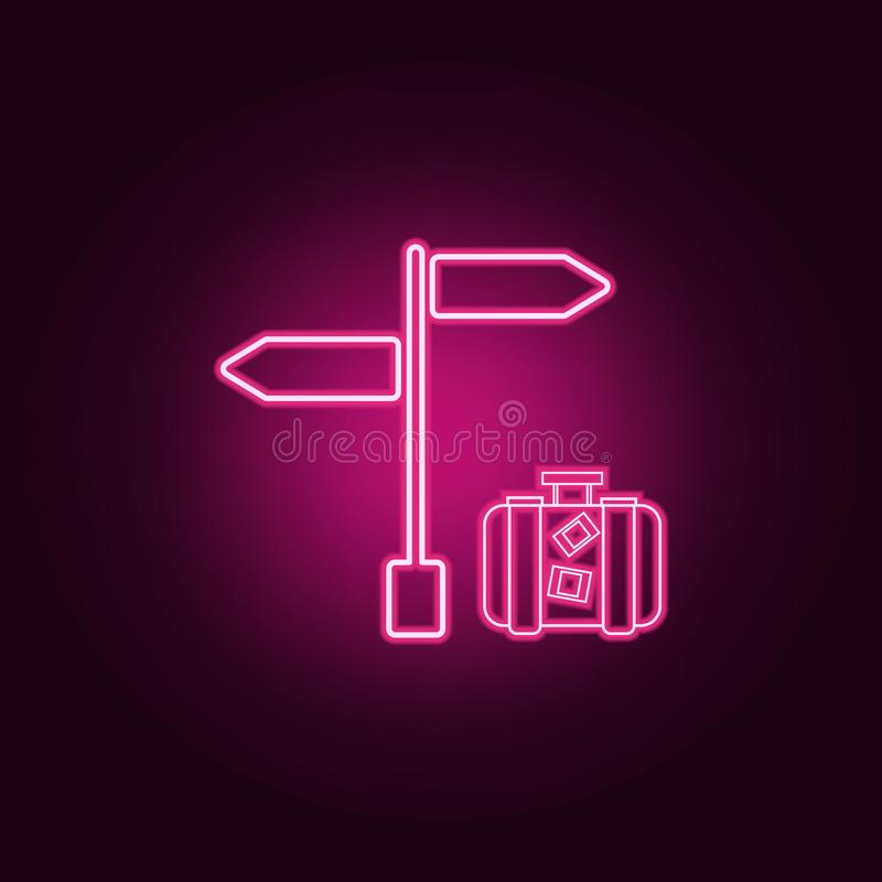Signpost with luggage neon icon. Elements of turizm set. Simple icon for websites, web design, mobile app, info graphics. On dark gradient background vector illustration