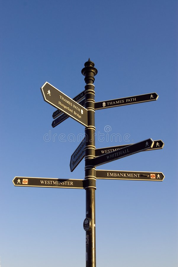 Signpost With Many Directions Stock Image