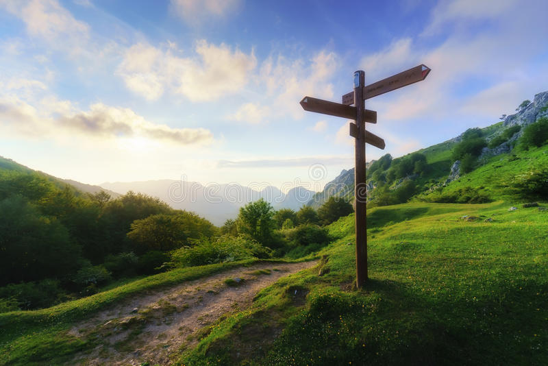 Signpost in mountain stock photography