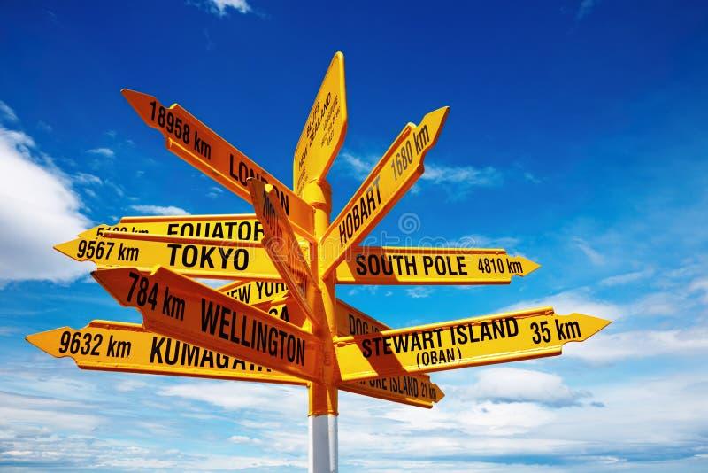 Signpost nel punto di Stirling, bluff, Nuova Zelanda immagine stock libera da diritti