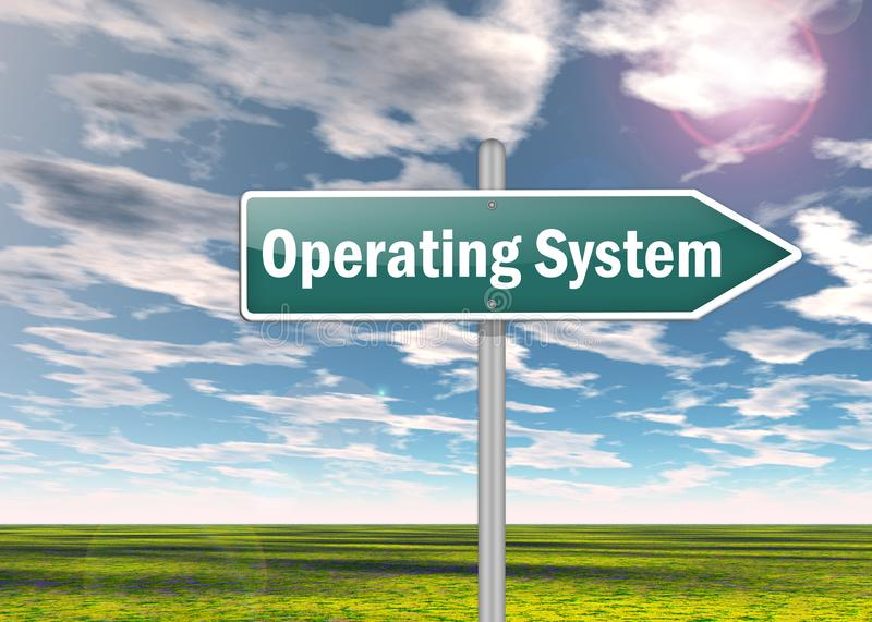 Signpost Operating System. Signpost with Operating System wording stock illustration