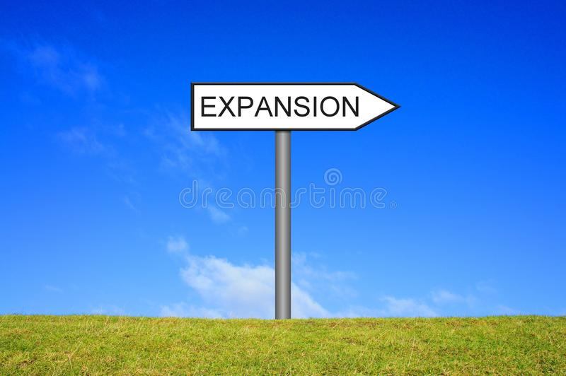 Signpost showing Expansion stock photography