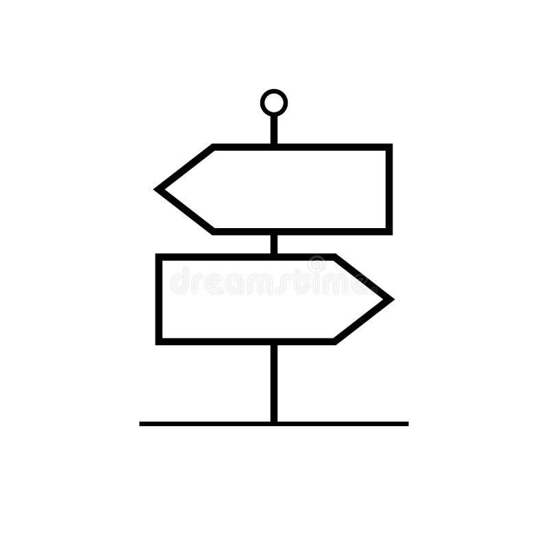 Signpost outline vector icon. Direction pointer symbol for graphic design, logo, web site, social media, mobile app, illustration royalty free illustration