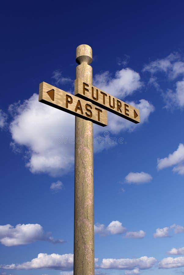 Signpost para o futuro e o passado ilustração royalty free