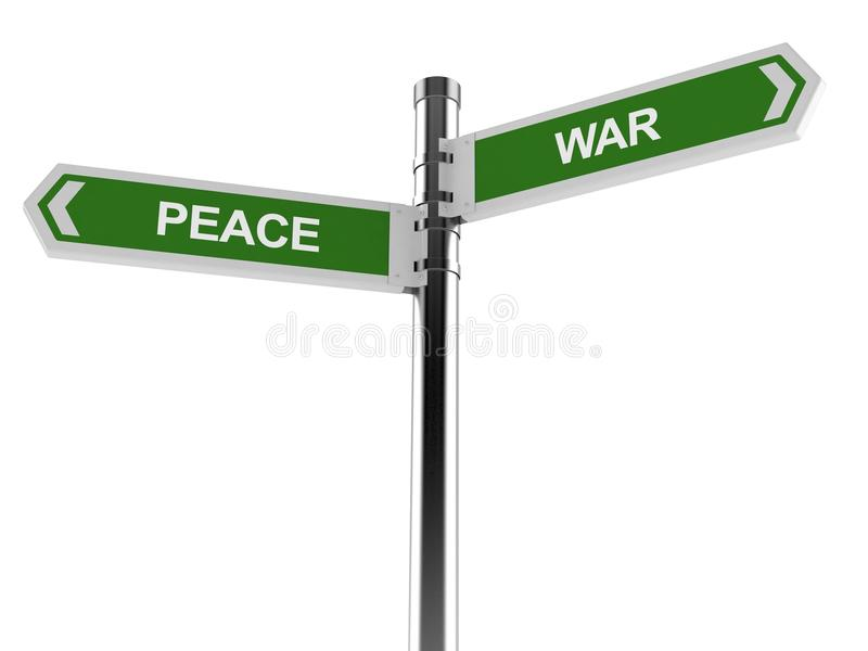 Signpost with peace and war text. Isolated on white background royalty free illustration