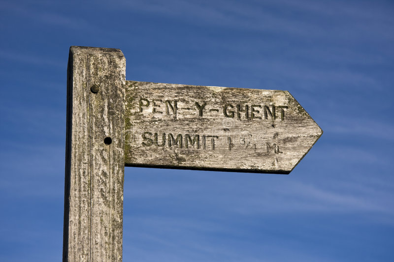 Signpost Pen Y Ghent Hill Stock Photography