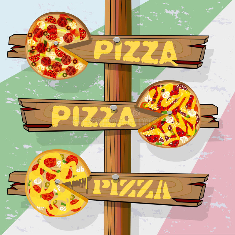 Signpost pizza. Signpost with three pointers pizza. Wood pizza with painted ingredients. Vector illustration with objects vector illustration