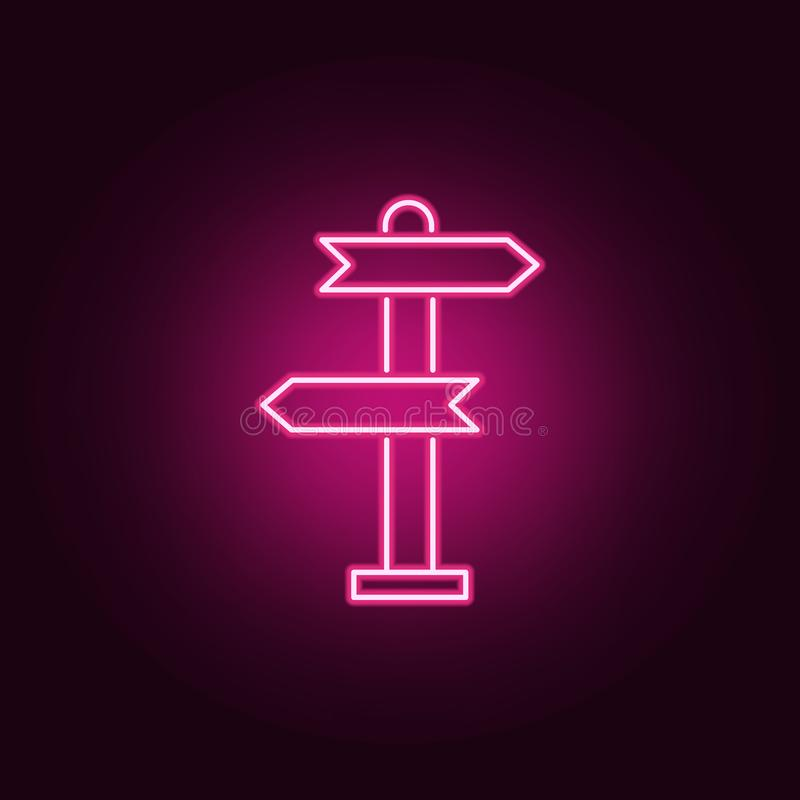 Signpost, pointer line neon icon. Elements of Real Estate set. Simple icon for websites, web design, mobile app, info graphics. On dark gradient background royalty free illustration