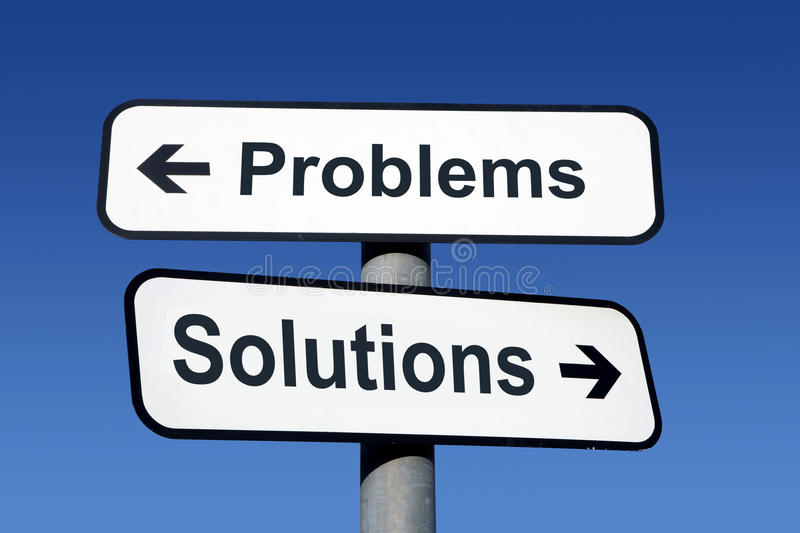 Signpost pointing to problems and solutions. stock photo