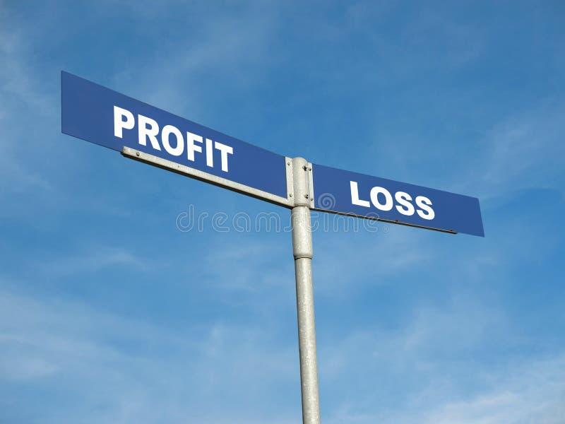 Signpost profitti e perdite fotografia stock libera da diritti