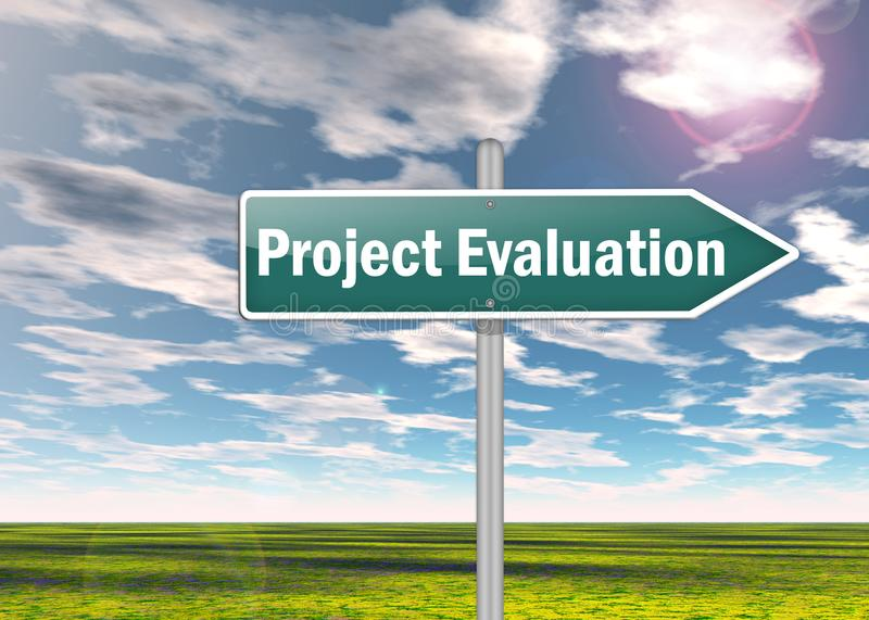 Signpost Project Evaluation. Signpost with Project Evaluation wording vector illustration