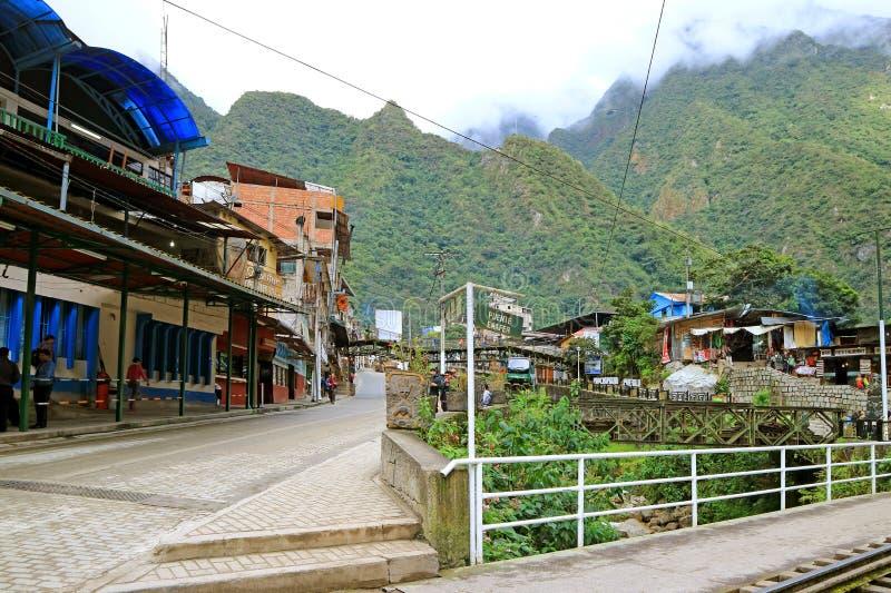 Signpost of PUENTE ENAFER Greek Bridge at Aguas Calientes town, the foothill of Machu Picchu Inca citadel, Cusco region, Peru stock photo