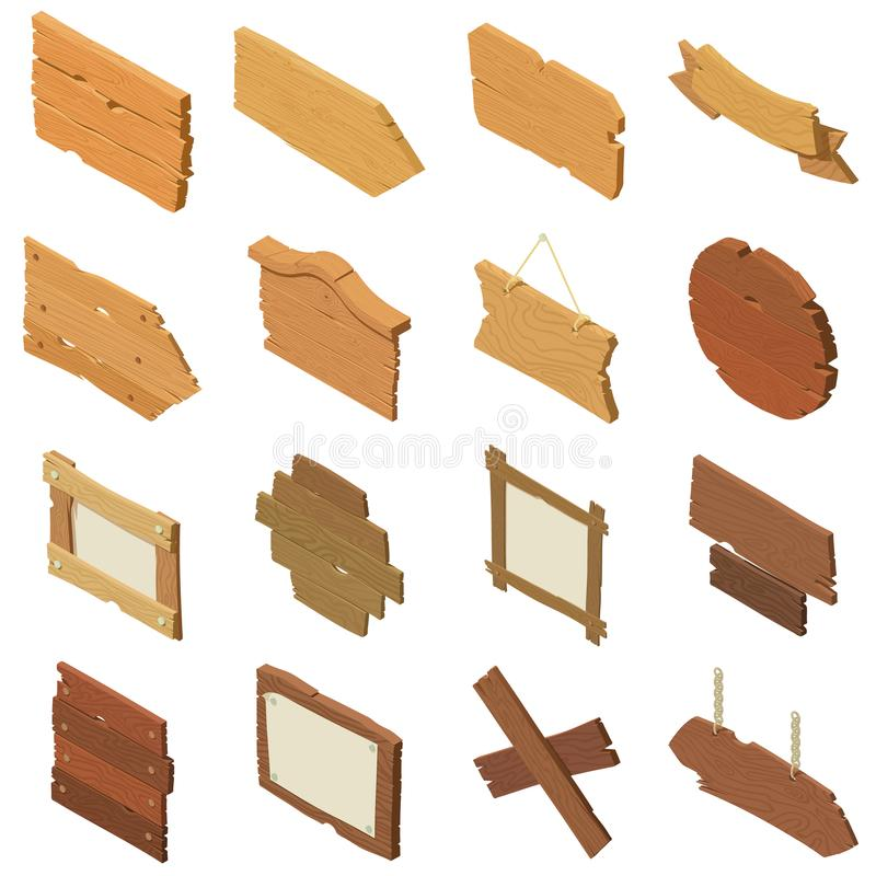 Signpost road wooden icons set, isometric style vector illustration