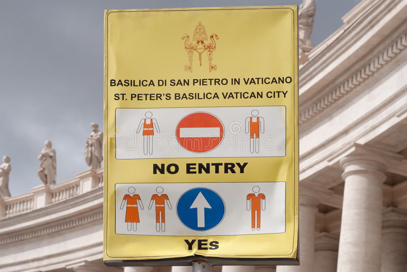 Vatican Dress Code Sign Stock Photo. Image Of Pope