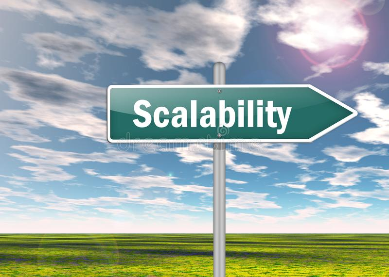 Signpost Scalability. Signpost Illustration with Scalability wording royalty free illustration