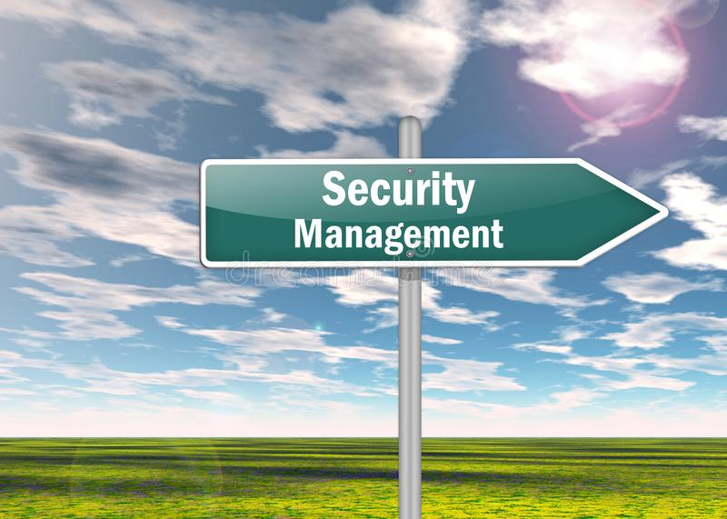 Signpost Security Management. Signpost with Security Management wording stock illustration