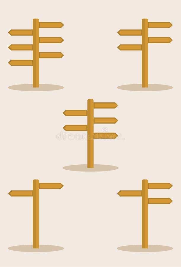 Signpost set. Set of signpost illustration vector royalty free illustration