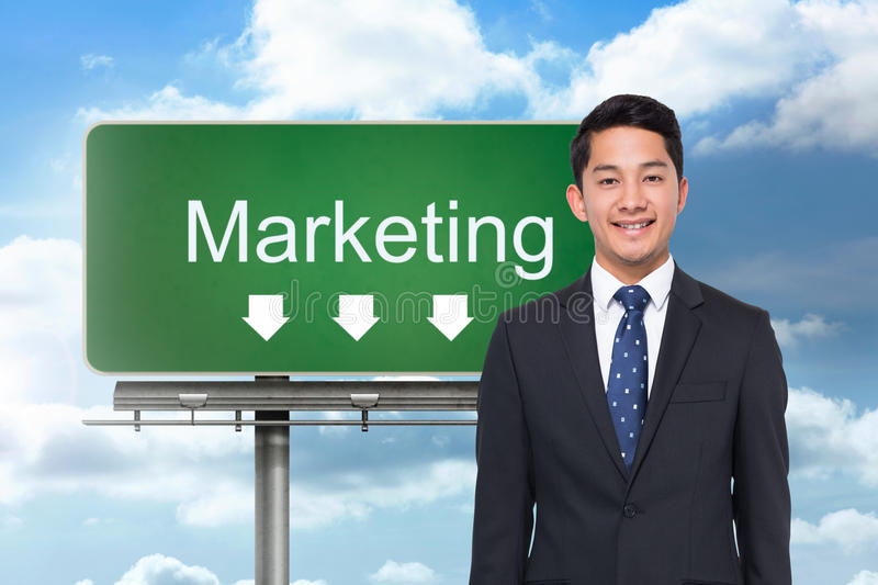 Signpost showing marketing direction stock photos