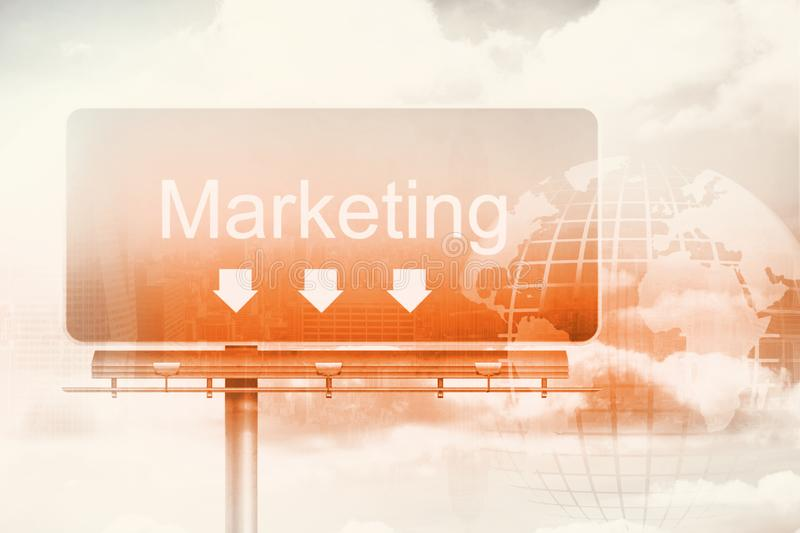 Signpost showing marketing direction royalty free stock photo