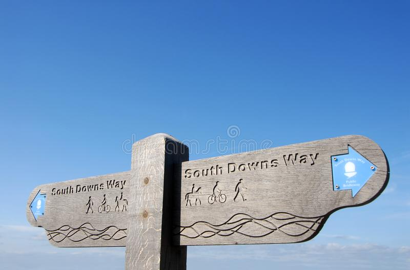 A signpost on the South Downs Way near Brighton in Sussex, England, UK. South Downs National Park, Sussex, England, UK. A signpost shows the route of the South stock image