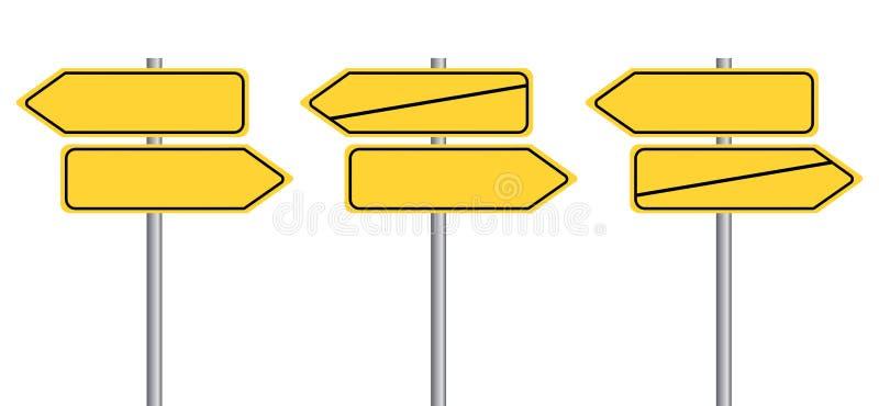Signpost street signs without Text. German Translation: Wegweiser Schilder - Richtung anzeigen ohne Text. Eps10 Vector royalty free illustration