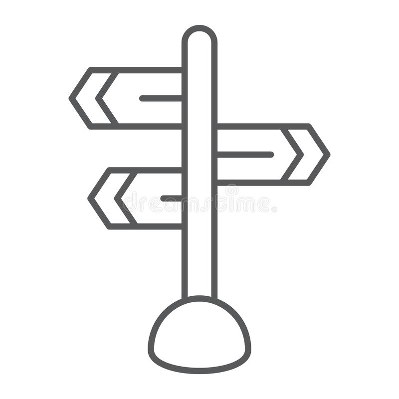 Signpost thin line icon, direction and sign, guidepost sign, vector graphics, a linear pattern on a white background. Signpost thin line icon, direction and vector illustration